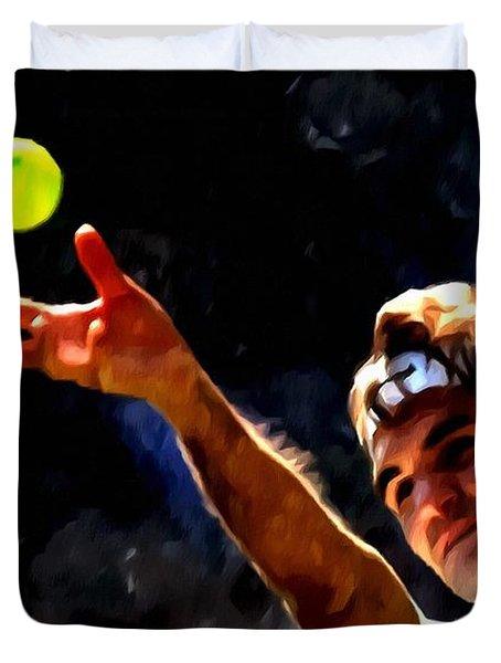 Roger Federer Tennis 1 Duvet Cover by Lanjee Chee