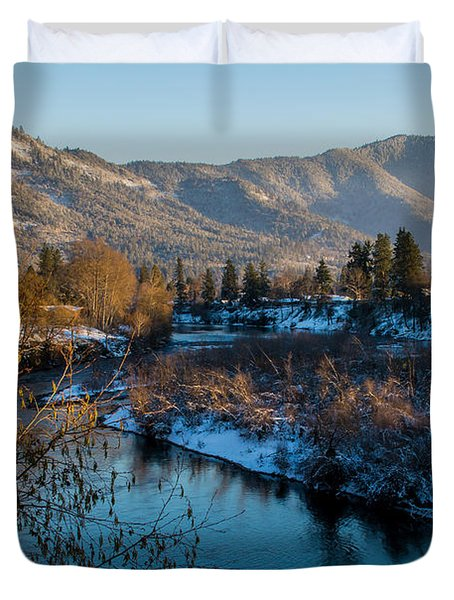 Rogue River Winter Duvet Cover by Mick Anderson