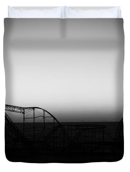 Roller Coaster Silhouette Black And White Duvet Cover by Michael Ver Sprill
