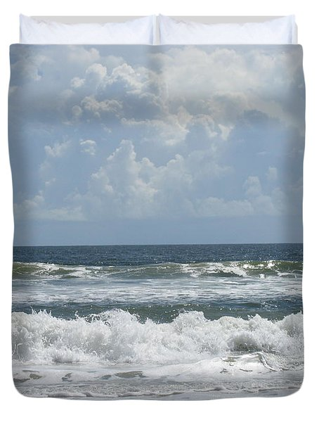 Rolling Clouds And Waves Duvet Cover by Ellen Meakin