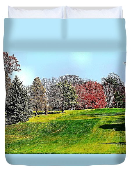 Duvet Cover featuring the photograph Rolling Green Hills And Fall Foliage by Judy Palkimas