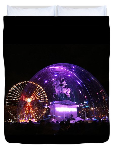 Rolling Lights On Bellecour Square Duvet Cover