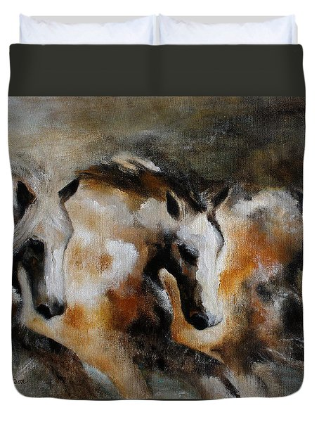 Duvet Cover featuring the painting Rolling Thunder by Barbie Batson