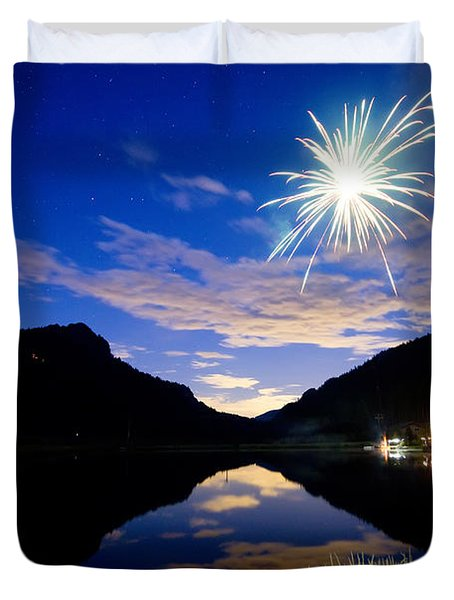 Rollinsville Yacht Club Fireworks Private Show 52 Duvet Cover by James BO  Insogna