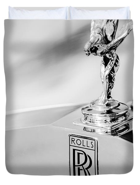 Rolls-royce Hood Ornament -782bw Duvet Cover