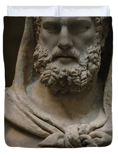 Roman Art. Marble Statue Of A Bearded Hercules Covered With Lions Skin. Early Imperial, Flavian Duvet Cover