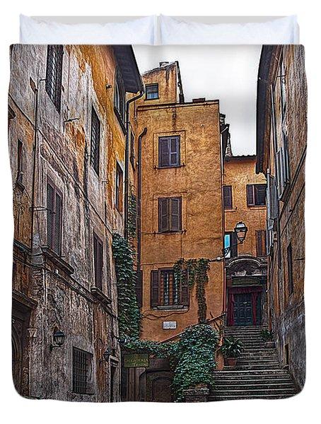 Roman Backyard Duvet Cover by Hanny Heim