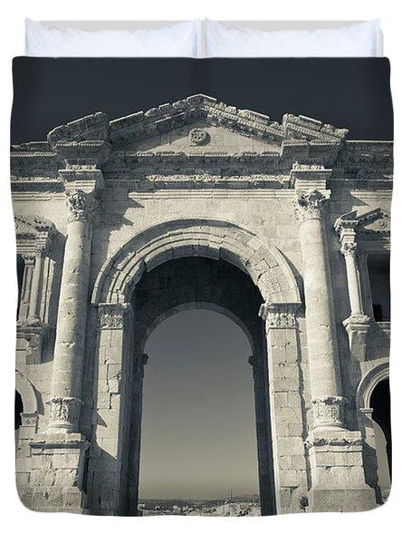 Roman-era Hadrians Arch, Jerash, Jordan Duvet Cover