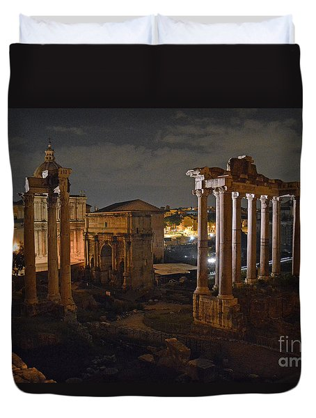 Roman Forum At Night 2 Duvet Cover