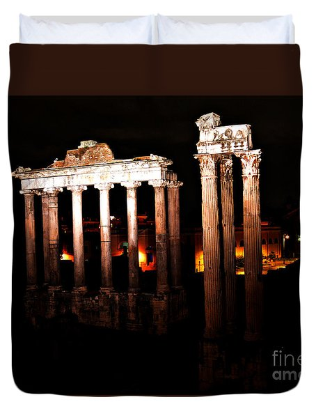 Roman Forum At Night Duvet Cover