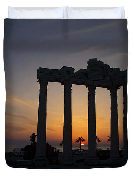 Roman Ruins At Sunset Side Turkey Duvet Cover
