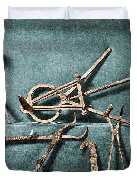 Duvet Cover featuring the photograph Roman Surgical Instruments, 1st Century by Science Source