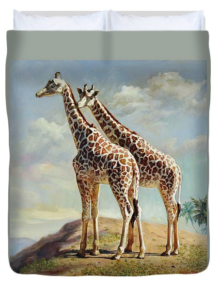 Romance In Africa - Love Among Giraffes Duvet Cover by Svitozar Nenyuk