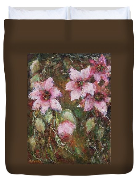 Duvet Cover featuring the painting Romance by Mary Wolf