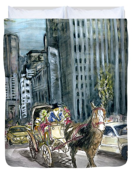 New York 5th Avenue Ride - Fine Art Painting Duvet Cover