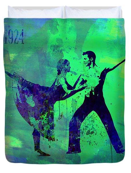 Romantic Ballet Watercolor 1 Duvet Cover by Naxart Studio