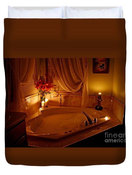 Romantic Bubble Bath Duvet Cover by Kay Novy