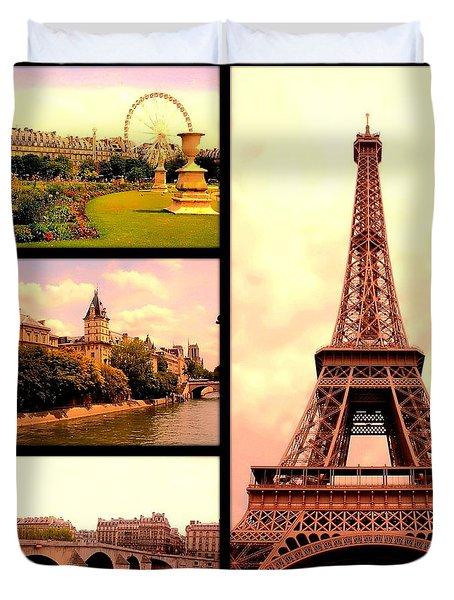 Romantic Paris Sunset Collage Duvet Cover by Carol Groenen