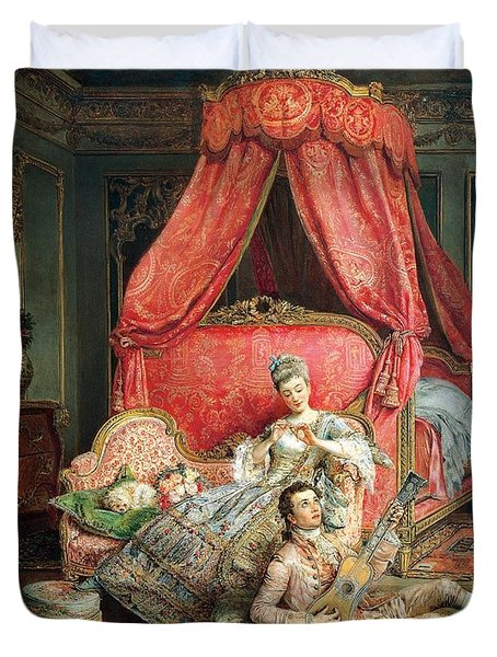 Romantic Scene Duvet Cover by Ignacio De Leon y Escosura