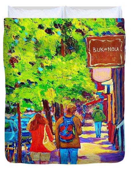 Romantic Stroll Along Rue Laurier Montreal Street Scenes Paintings Carole Spandau Duvet Cover by Carole Spandau