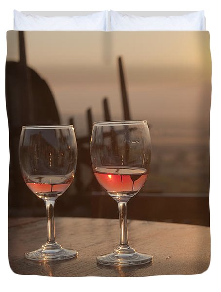 Romantic Sunset With A Glass Of Wine Duvet Cover