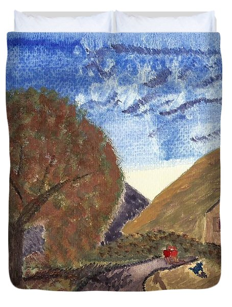 Duvet Cover featuring the painting Romantic Walk by Tracey Williams