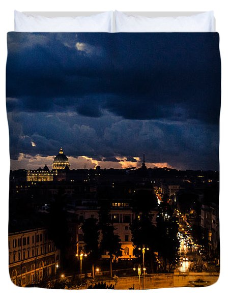 Rome Cityscape At Night  Duvet Cover
