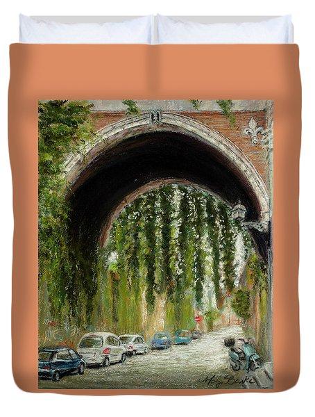 Rome Street Scene Duvet Cover by Mary Benke