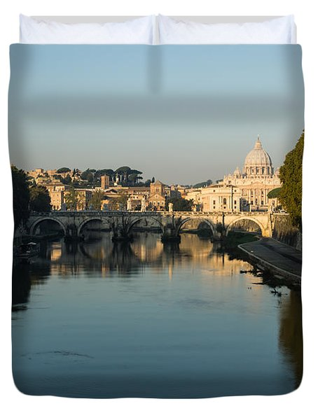 Duvet Cover featuring the photograph Rome Waking Up by Georgia Mizuleva