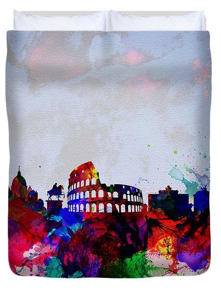 Rome Watercolor Skyline Duvet Cover