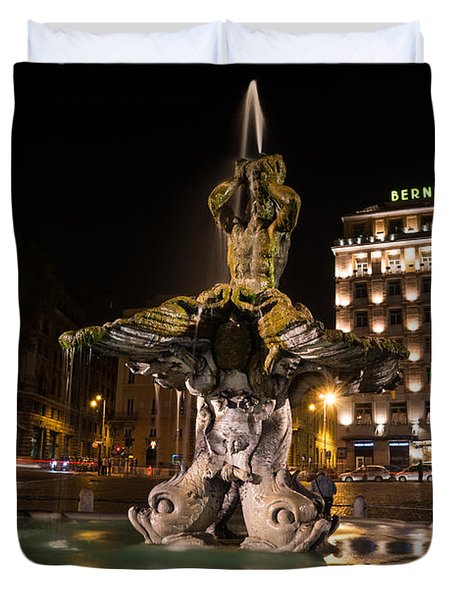 Rome's Fabulous Fountains - Bernini's Fontana Del Tritone Duvet Cover
