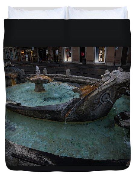 Rome's Fabulous Fountains - Fontana Della Barcaccia At The Spanish Steps  Duvet Cover