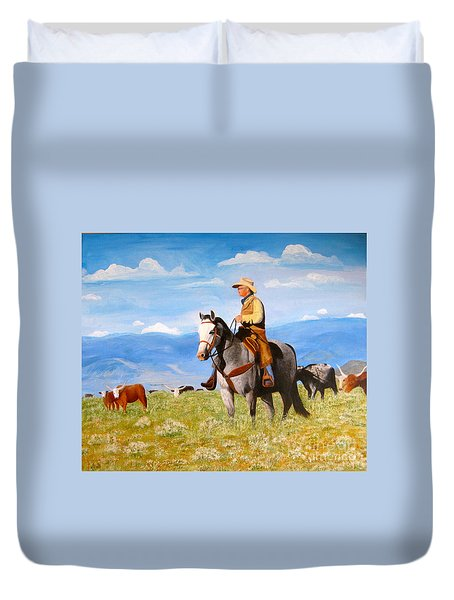 Ron And  Cash At Work Duvet Cover