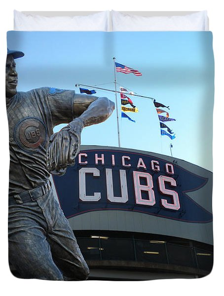 Ron Santo Chicago Cubs Statue Duvet Cover by Thomas Woolworth