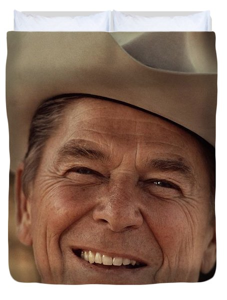 Ronald Reagan In 1976 At His Home At Rancho Del Cielo Duvet Cover by Movie Poster Prints
