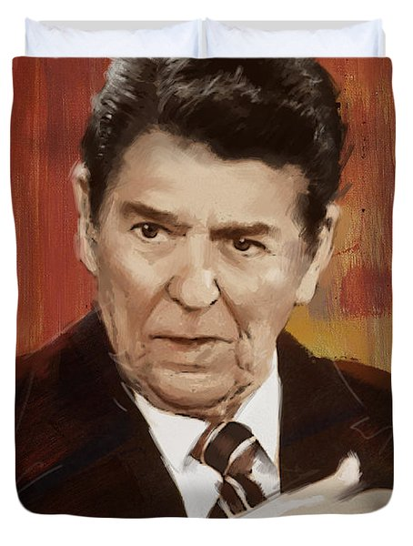 Ronald Reagan Portrait 2 Duvet Cover by Corporate Art Task Force