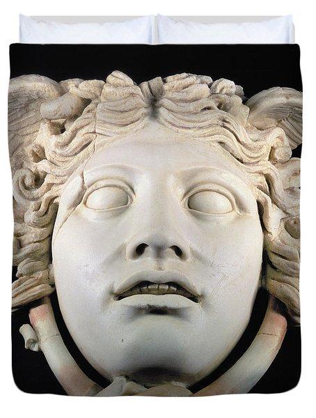 Rondanini Medusa, Copy Of A 5th Century Bc Greek Marble Original, Roman Plaster Duvet Cover