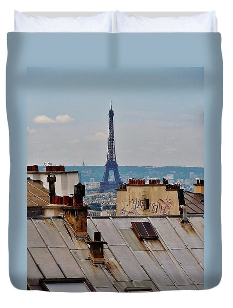 Rooftops Of Paris And Eiffel Tower Duvet Cover by Marilyn Dunlap
