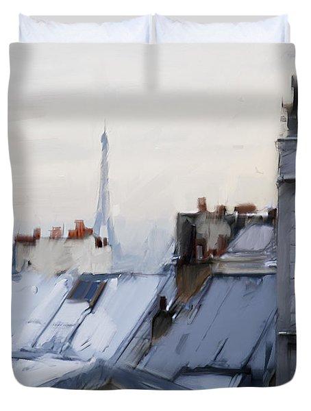 Rooftops Of Paris Duvet Cover by H James Hoff