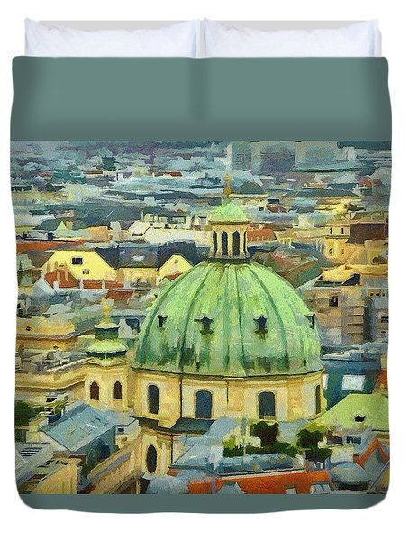 Rooftops Of Vienna Duvet Cover by Jeffrey Kolker
