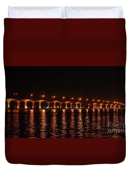 Duvet Cover featuring the photograph Roosevelt Bridge Panorama by Olga Hamilton