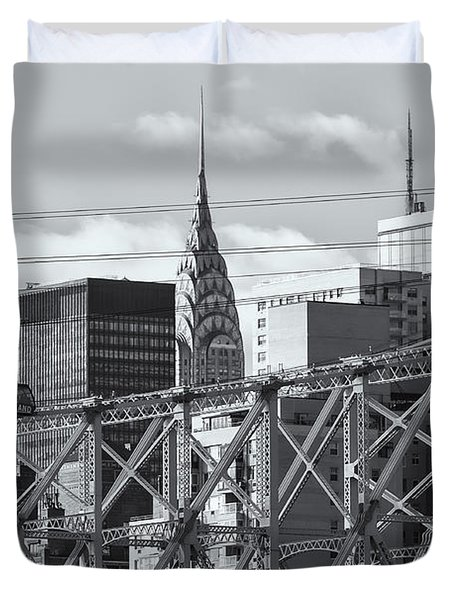 Roosevelt Island Tram And Manhattan Skyline II Duvet Cover