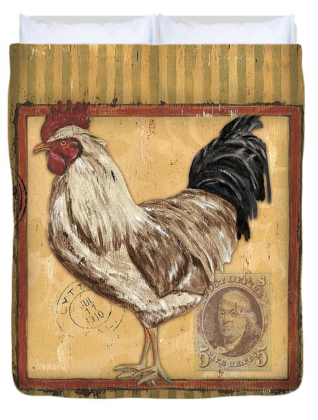 Rooster And Stripes Duvet Cover