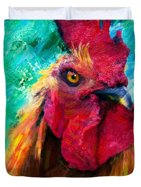 Rooster Colorful Expressions Duvet Cover