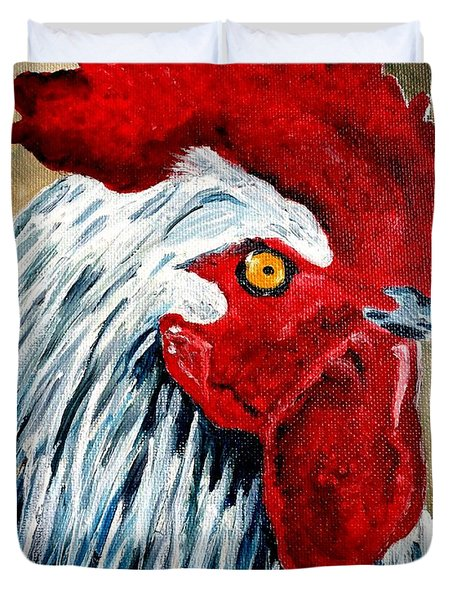 Duvet Cover featuring the painting Rooster Doodle by Julie Brugh Riffey