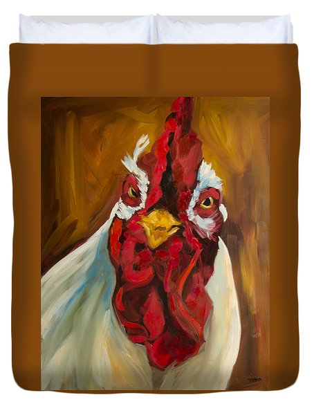 Rooster Face Duvet Cover