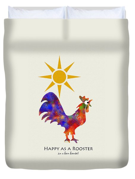 Rooster Pattern Art Duvet Cover