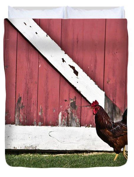 Rooster Strut Duvet Cover