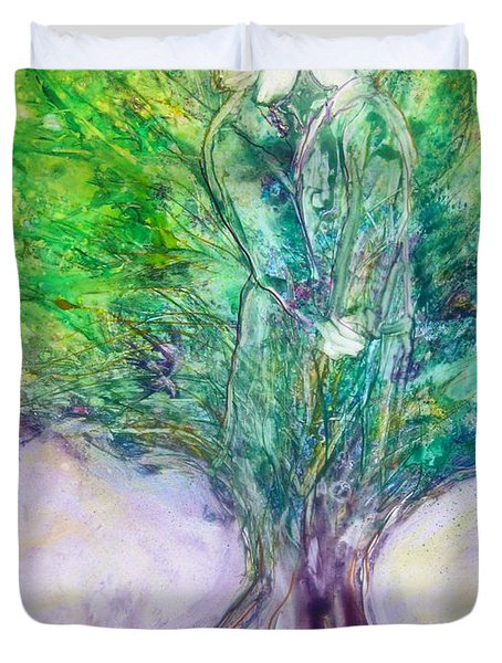 Duvet Cover featuring the painting Rooted In Love by Deborah Nell