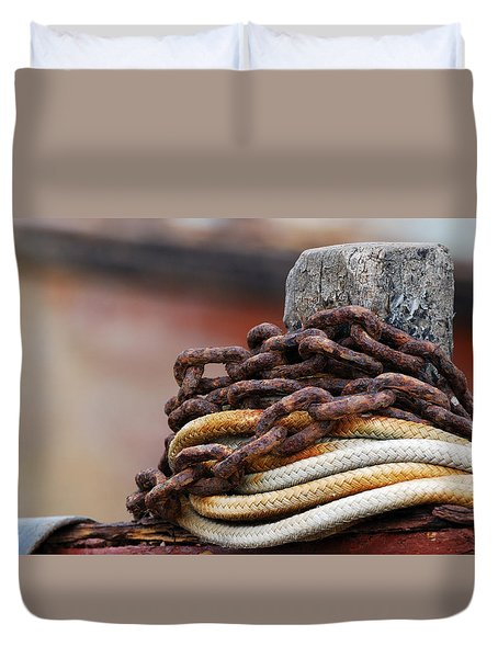 Duvet Cover featuring the photograph Rope And Chain by Wendy Wilton